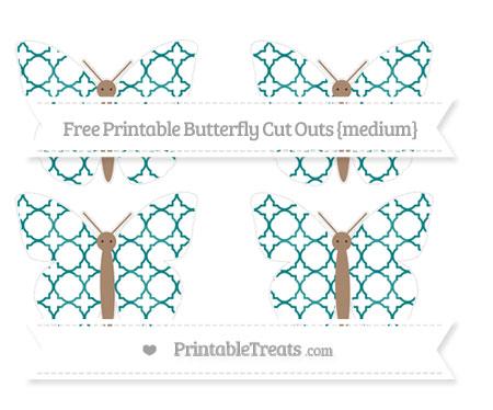 Free Teal Quatrefoil Pattern Medium Butterfly Cut Outs