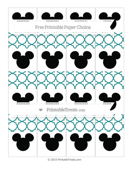 Free Teal Quatrefoil Pattern Mickey Mouse Paper Chains
