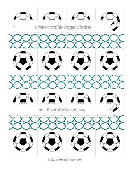 Free Teal Quatrefoil Pattern Soccer Paper Chains