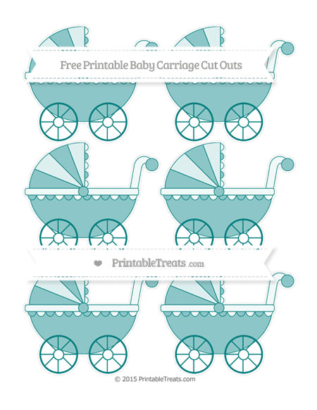 Free Teal Small Baby Carriage Cut Outs