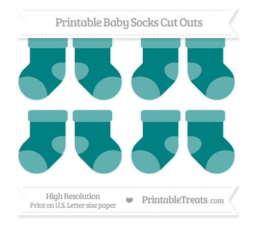 Free Teal Small Baby Socks Cut Outs