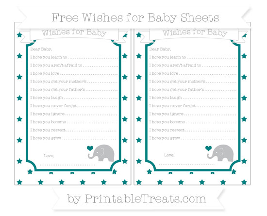 Free Teal Star Pattern Baby Elephant Wishes for Baby Sheets