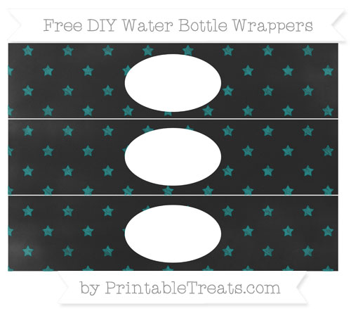 Free Teal Star Pattern Chalk Style DIY Water Bottle Wrappers