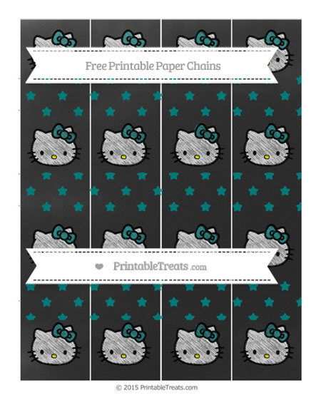 Free Teal Star Pattern Chalk Style Hello Kitty Paper Chains