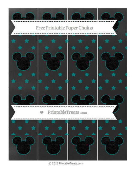 Free Teal Star Pattern Chalk Style Mickey Mouse Paper Chains