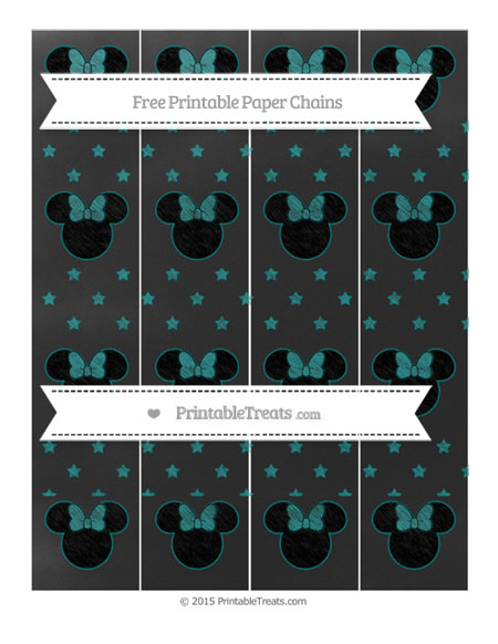 Free Teal Star Pattern Chalk Style Minnie Mouse Paper Chains