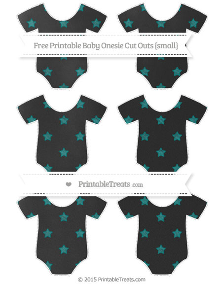 Free Teal Star Pattern Chalk Style Small Baby Onesie Cut Outs