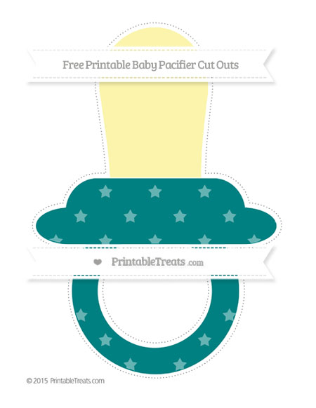 Free Teal Star Pattern Extra Large Baby Pacifier Cut Outs