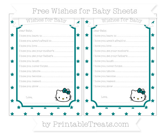 Free Teal Star Pattern Hello Kitty Wishes for Baby Sheets