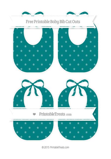 Free Teal Star Pattern Medium Baby Bib Cut Outs