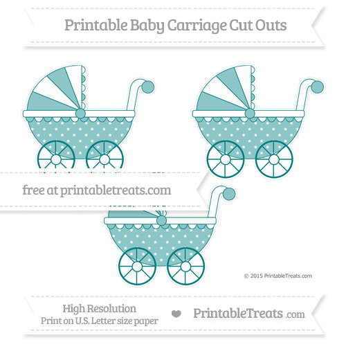 Free Teal Star Pattern Medium Baby Carriage Cut Outs