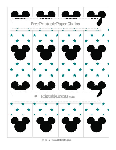 Free Teal Star Pattern Mickey Mouse Paper Chains