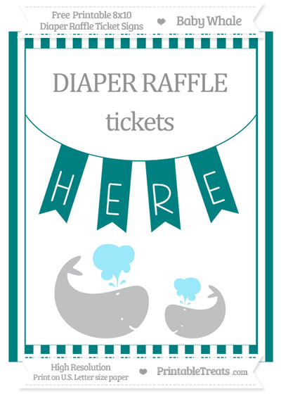 Free Teal Striped Baby Whale 8x10 Diaper Raffle Ticket Sign