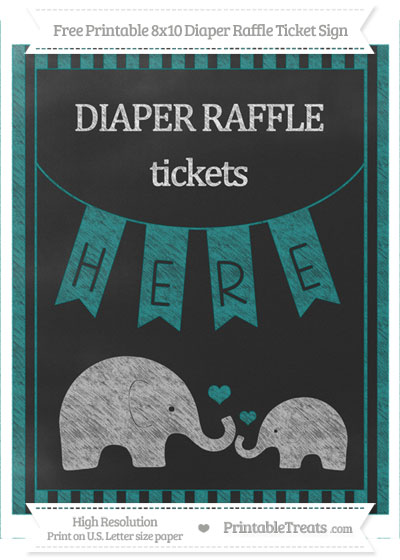 Free Teal Striped Chalk Style Elephant 8x10 Diaper Raffle Ticket Sign