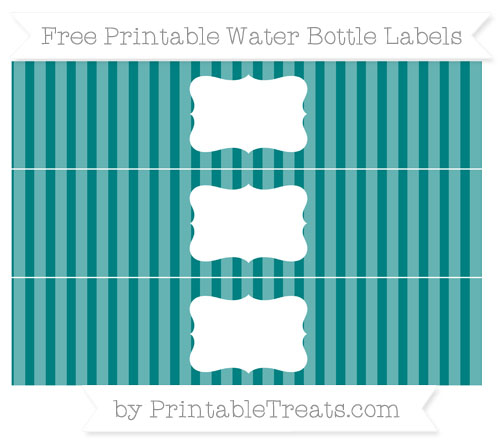 Free Teal Striped Water Bottle Labels