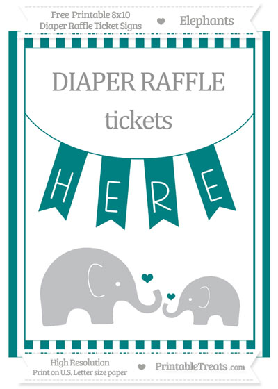 Free Teal Striped Elephant 8x10 Diaper Raffle Ticket Sign