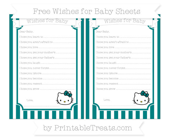 Free Teal Striped Hello Kitty Wishes for Baby Sheets