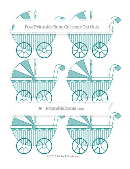 Free Teal Striped Small Baby Carriage Cut Outs