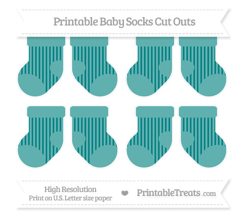 Free Teal Striped Small Baby Socks Cut Outs