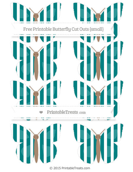 Free Teal Striped Small Butterfly Cut Outs