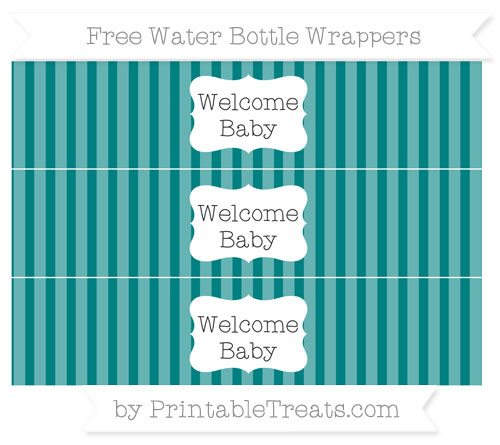 Free Teal Striped Welcome Baby Water Bottle Wrappers