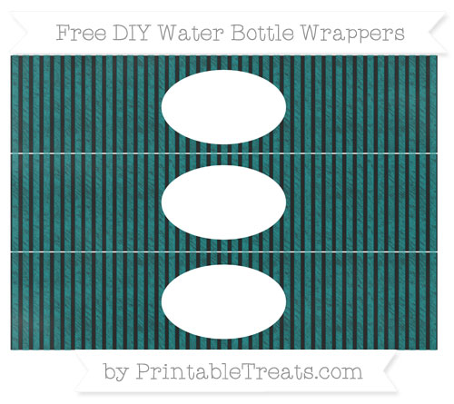 Free Teal Thin Striped Pattern Chalk Style DIY Water Bottle Wrappers