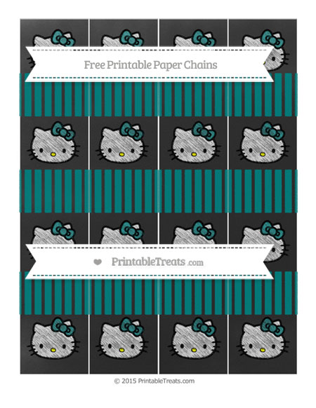 Free Teal Thin Striped Pattern Chalk Style Hello Kitty Paper Chains