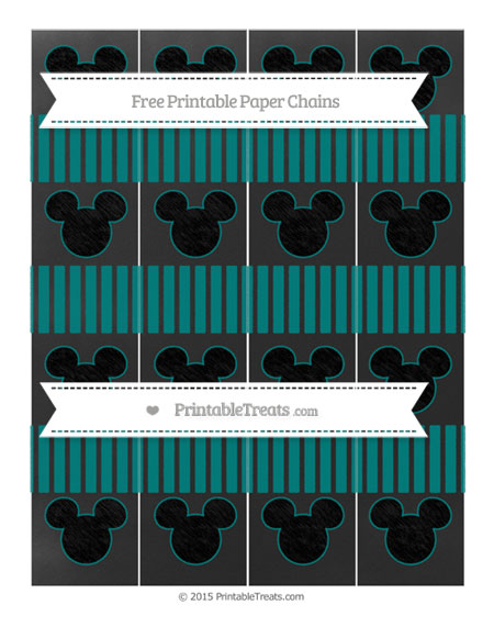 Free Teal Thin Striped Pattern Chalk Style Mickey Mouse Paper Chains