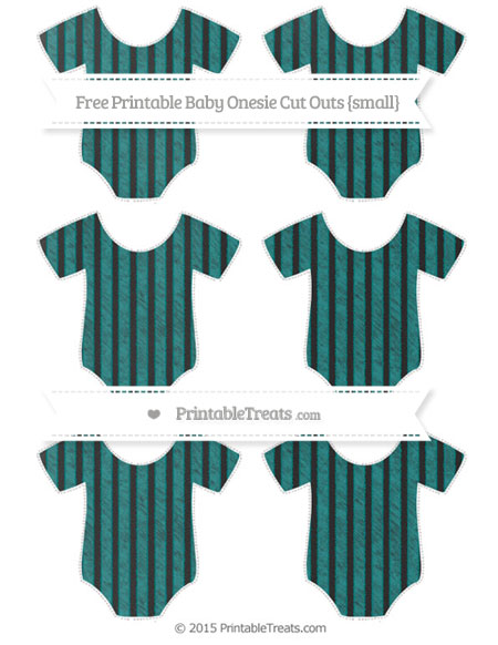 Free Teal Thin Striped Pattern Chalk Style Small Baby Onesie Cut Outs