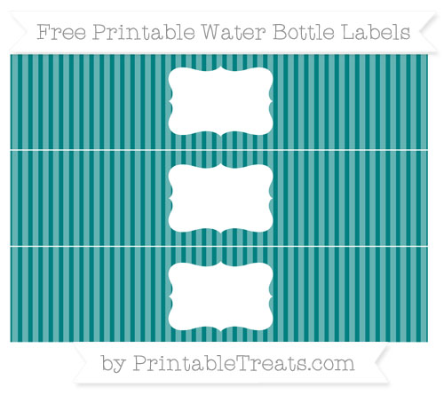 Free Teal Thin Striped Pattern Water Bottle Labels
