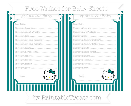 Free Teal Thin Striped Pattern Hello Kitty Wishes for Baby Sheets