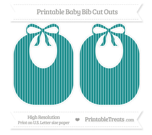 Free Teal Thin Striped Pattern Large Baby Bib Cut Outs
