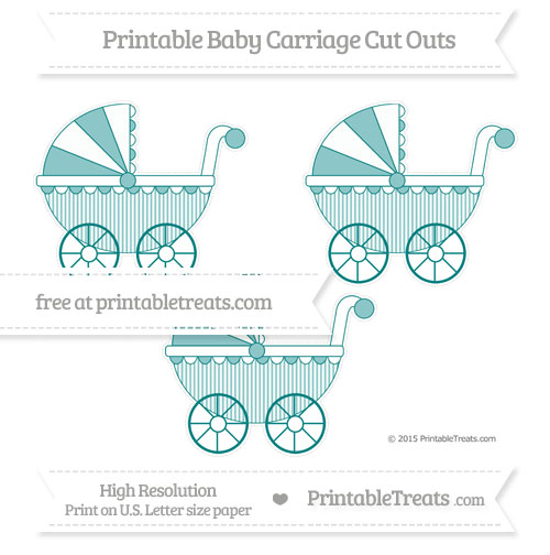 Free Teal Thin Striped Pattern Medium Baby Carriage Cut Outs