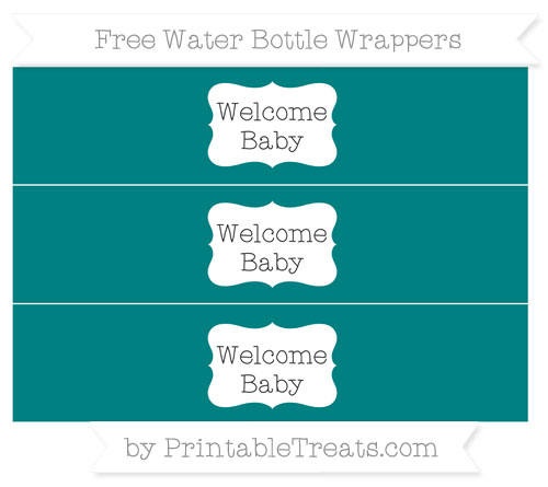 Free Teal Welcome Baby Water Bottle Wrappers