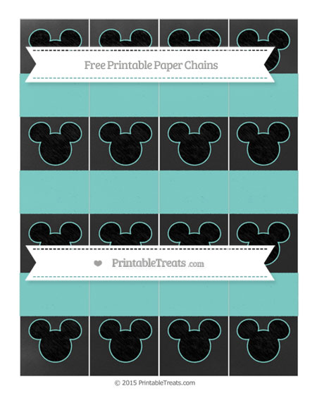 Free Tiffany Blue Chalk Style Mickey Mouse Paper Chains