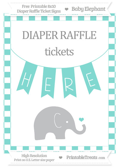 Free Tiffany Blue Checker Pattern Baby Elephant 8x10 Diaper Raffle Ticket Sign