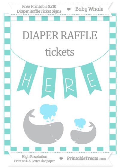 Free Tiffany Blue Checker Pattern Baby Whale 8x10 Diaper Raffle Ticket Sign