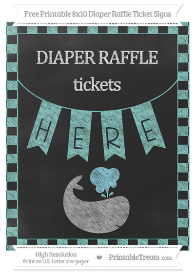 Free Tiffany Blue Checker Pattern Chalk Style Whale 8x10 Diaper Raffle Ticket Sign