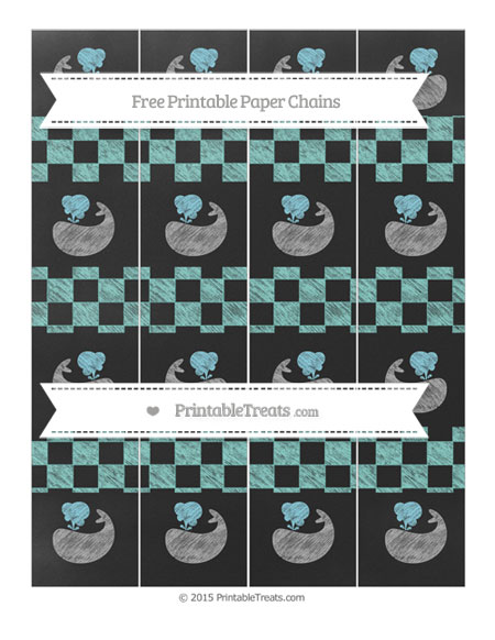 Free Tiffany Blue Checker Pattern Chalk Style Whale Paper Chains