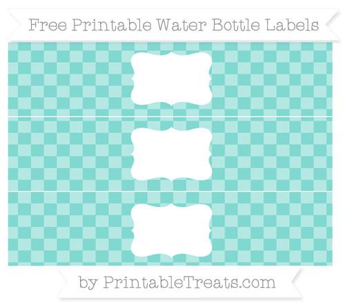 Free Tiffany Blue Checker Pattern Water Bottle Labels