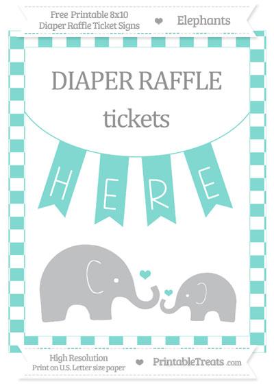 Free Tiffany Blue Checker Pattern Elephant 8x10 Diaper Raffle Ticket Sign