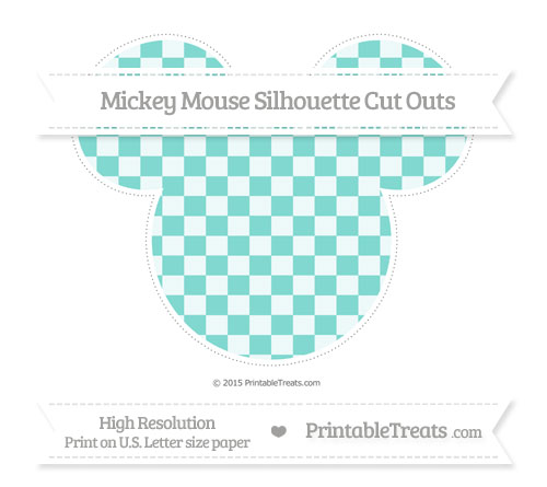 Free Tiffany Blue Checker Pattern Extra Large Mickey Mouse Silhouette Cut Outs