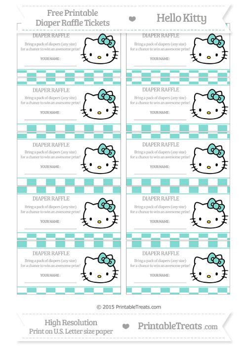 Free Tiffany Blue Checker Pattern Hello Kitty Diaper Raffle Tickets