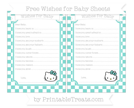 Free Tiffany Blue Checker Pattern Hello Kitty Wishes for Baby Sheets