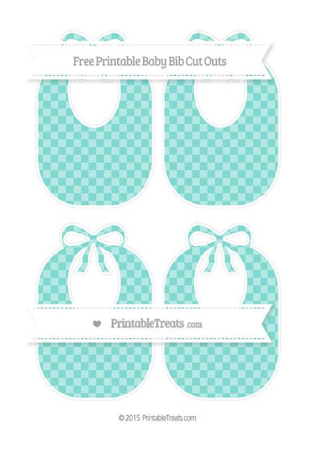 Free Tiffany Blue Checker Pattern Medium Baby Bib Cut Outs