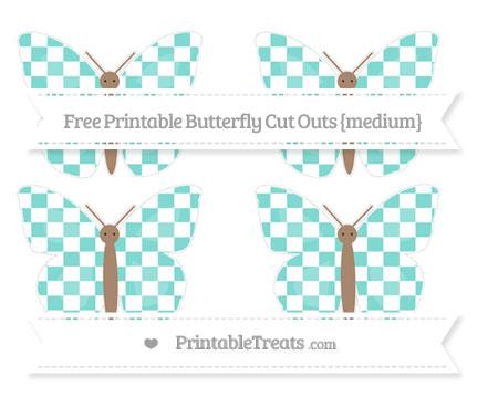 Free Tiffany Blue Checker Pattern Medium Butterfly Cut Outs