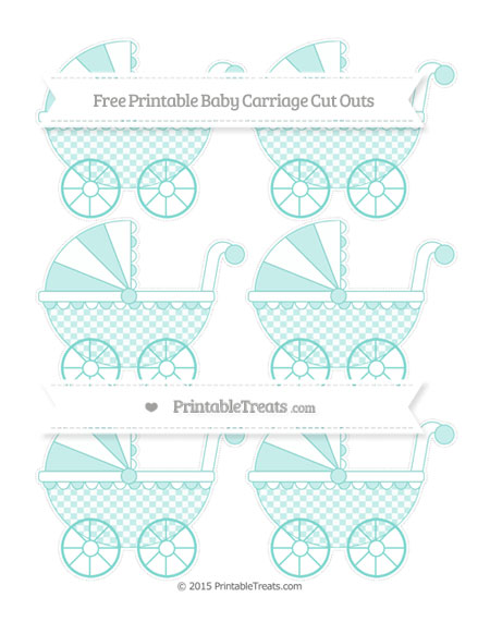 Free Tiffany Blue Checker Pattern Small Baby Carriage Cut Outs