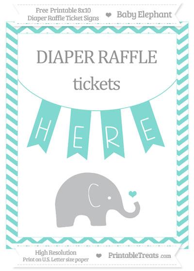 Free Tiffany Blue Chevron Baby Elephant 8x10 Diaper Raffle Ticket Sign