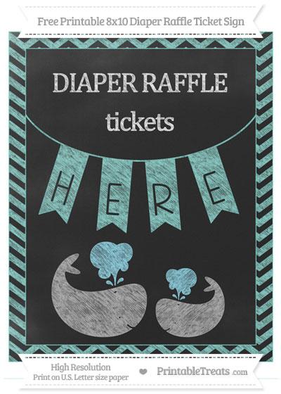Free Tiffany Blue Chevron Chalk Style Baby Whale 8x10 Diaper Raffle Ticket Sign