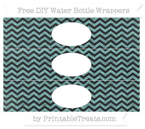 Free Tiffany Blue Chevron Chalk Style DIY Water Bottle Wrappers